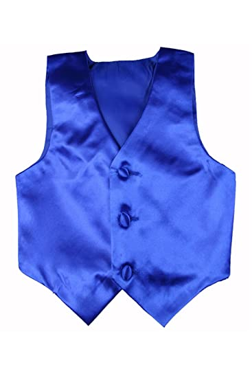 2daaa0dd4 Baby Toddler Kids Little Boys Formal 23 Color Satin Vest S-7 (S:(0-6  months), Royal Blue)
