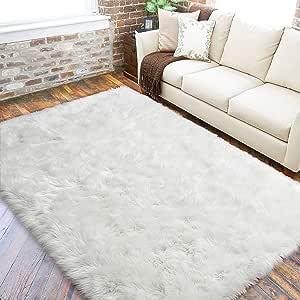 Lochas Ultra Soft Fluffy Rugs Faux Fur Sheepskin Area Rug For Bedroom Bedside Living Room Carpet Nursery Washable Floor Mat 3x5 Feet White Kitchen Dining Amazon Com