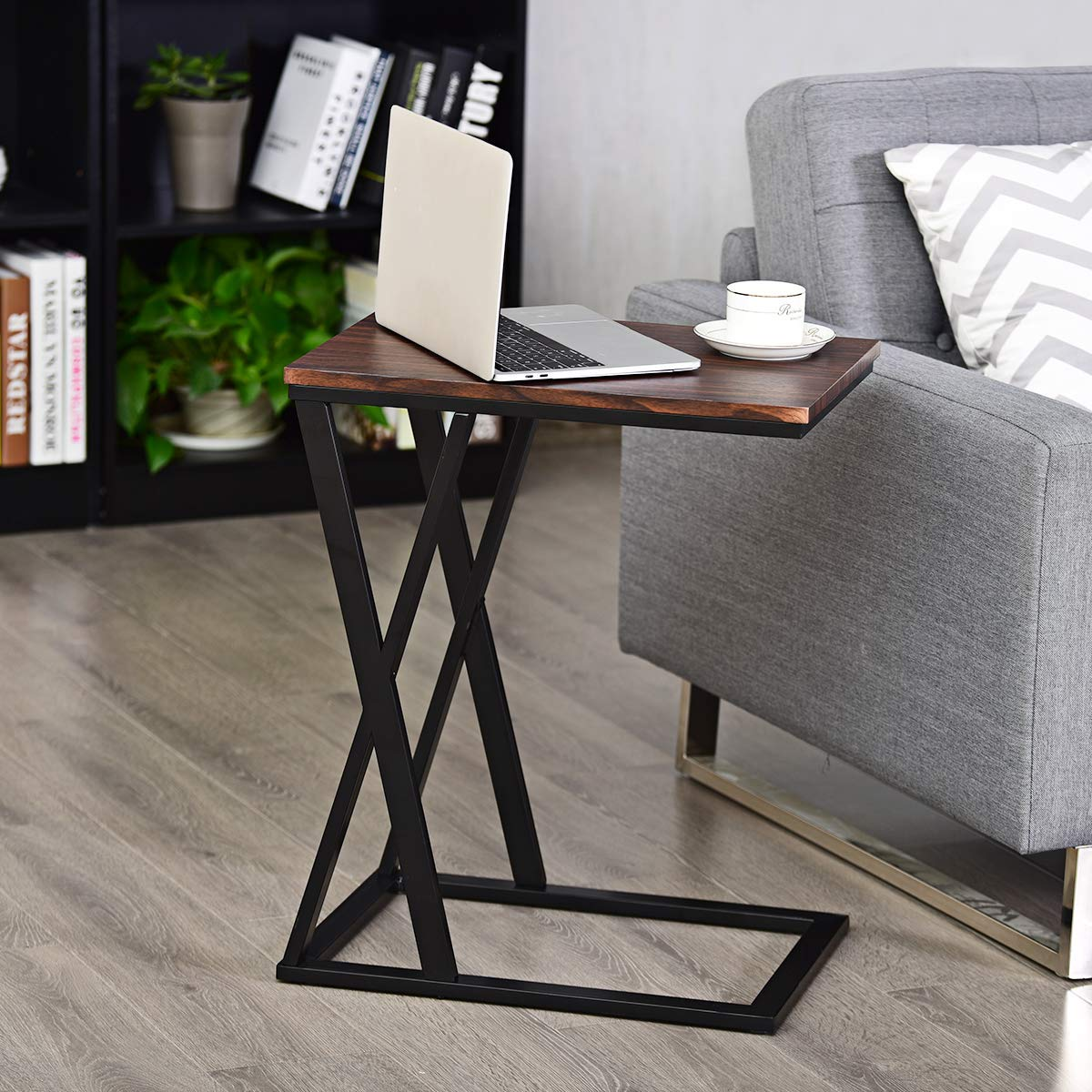 Tangkula Sofa Side Table, X-shaped Snack Table End Table, Coffee Tray Laptop Table Wood Look Finish Metal Frame, Over bed Table, Portable Table for for Notebook Tablet Living Room Bedroom 1, Brown