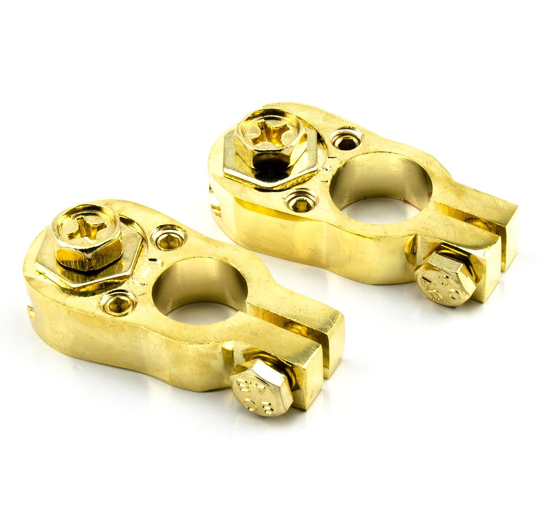 Coppia di morsetti per batteria auto o moto, versione dorata #0120W# Watermark WM-0120