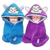 Brandonn 3 in 1 Baby Wrapper or Blanket Cum Sleeping Bag Bedding (Blue and Wine, Pack of 2)