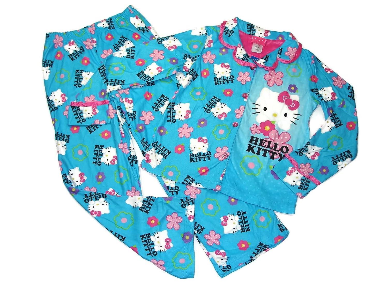 Hello Kitty Girls Size 8 Flannel Coat Style Blue Pajama Pants Set,