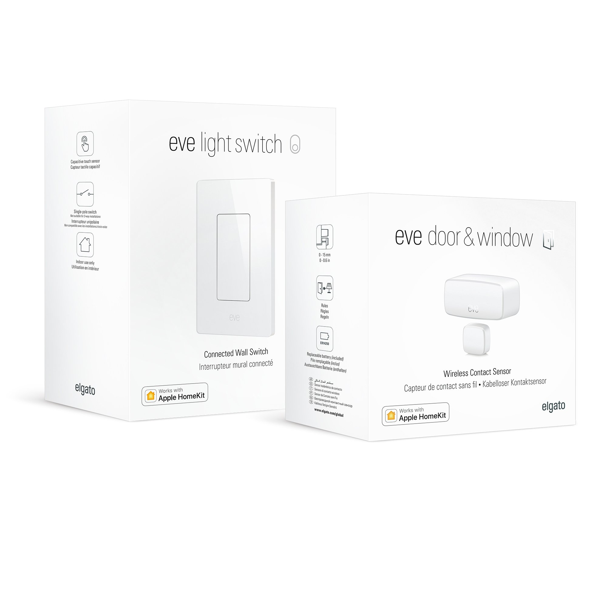 Smart Lightning Set: Eve Light Switch and Eve Door & Window with Apple HomeKit Technology, Bluetooth Low Energy