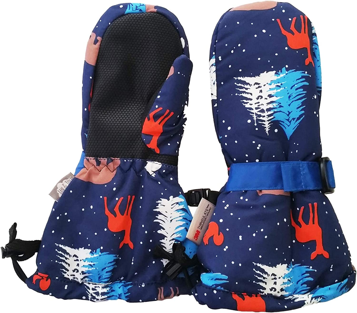 Waterproof Stay-on Snow Mittens for Baby Toddler Kids XS: 0-2Y, Blue