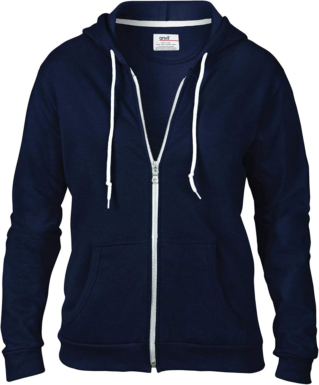 Anvil Womens Full Zip Hoodie Hooded Sweatshirt