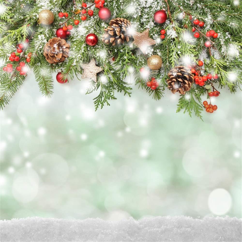 AOFOTO 5x5フィート クリスマス背景 松ぼっくり 枝 レッドベリー スノーフィールド ボケ ハロ 背景 新生児 赤ちゃん 子供 子供 大人 ポートレート 製品 写真 新年 写真ブース小道具   B07KVGM888