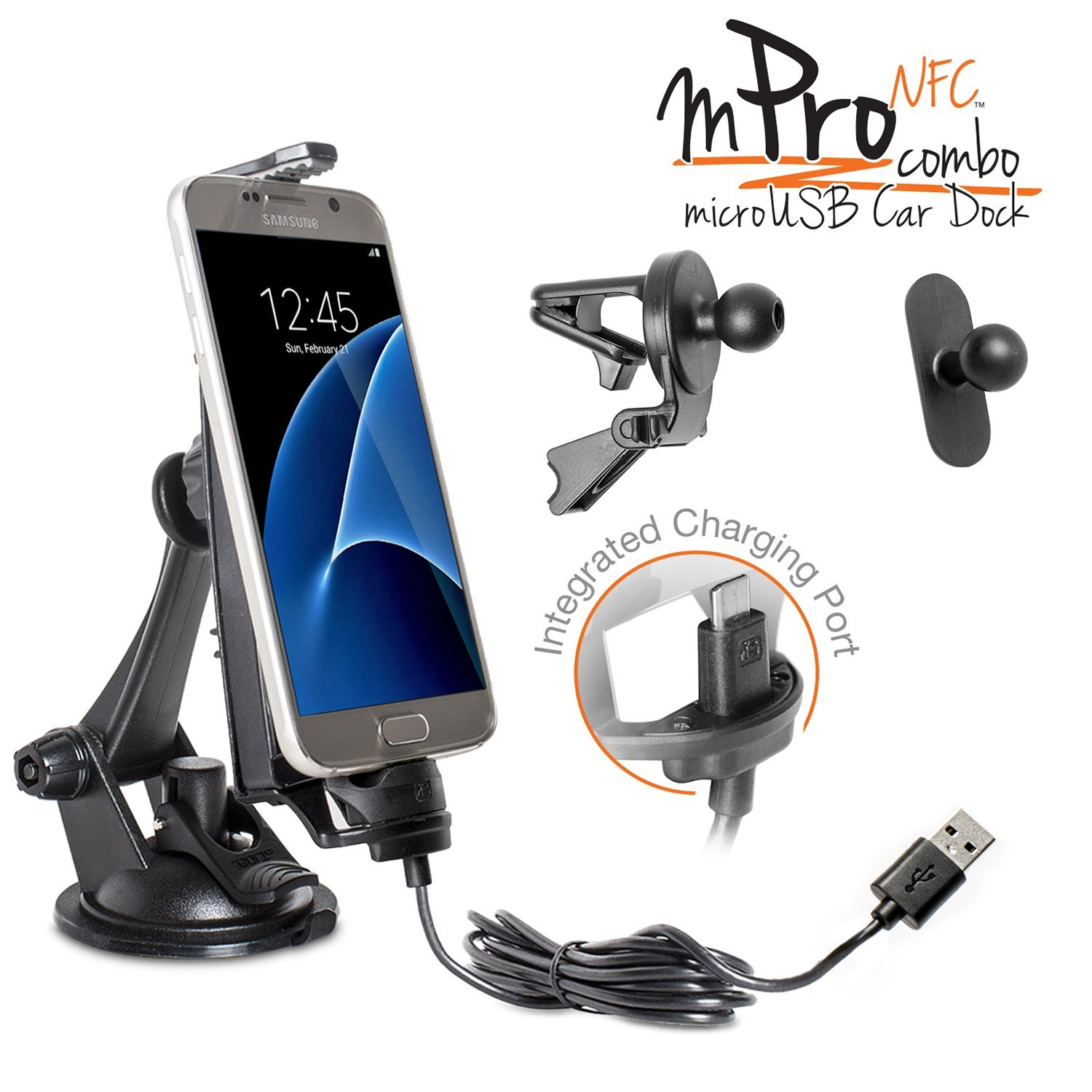 iBOLT mProNFC Combo Car Dock / Mount for Android phones- 3 mounts (suction cup mount, vent mount , and mini mount), and a 2m microUSB Cable- Compatible w/ Samsung Galaxy S6 / S7