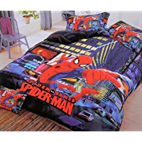 Blenzza deco® Glace Cotton Cartoon Print Comforter Set for Single Bed (1 Single bedsheet,1 Pillow Cover,1 Comforter)-Spiderman