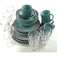 KAMPA Melamin-Set Campinggeschirr Terracotta 24 Teile incl.4X Wein+4X Wasserglas