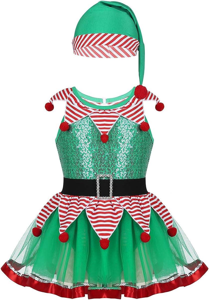 Freebily Vestito Elfo Bambina Natale Costume Carnevale Albero di Natale Tutu Danza Classica Ballerina Abitino da Festa con Cappello Babbo Natale Pagliaccio Jocker