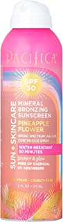 product image for Pacifica Beauty Sun + Skincare Mineral Bronzing Sunscreen Spray, 30 SPF, Pineapple Flower, Vegan & Cruelty-Free, 6 Fl Oz