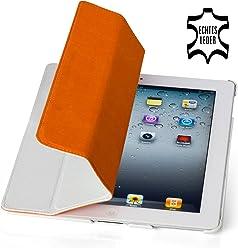 StilGut Couverture, custodia in vera pelle per il Apple iPad 2 con funzione di supporto e smart cover, bianco, pelle granulata