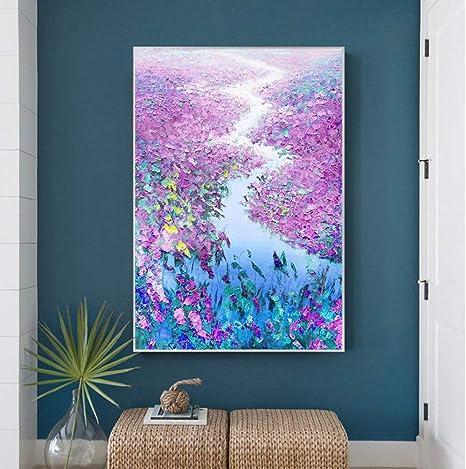 tzxdbh 100% Pintado a Mano la Pintura Abstracta Flores al óleo del ...