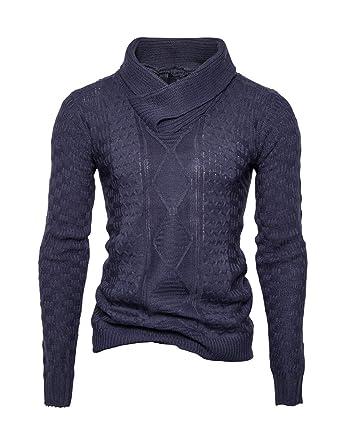 BESBOMIG Jersey de Punto Hombre Suéter de Manga Larga Sweater con Cuello Alto Slim Fit Sudadera Hombre Sin Capucha para Hombre: Amazon.es: Ropa y accesorios