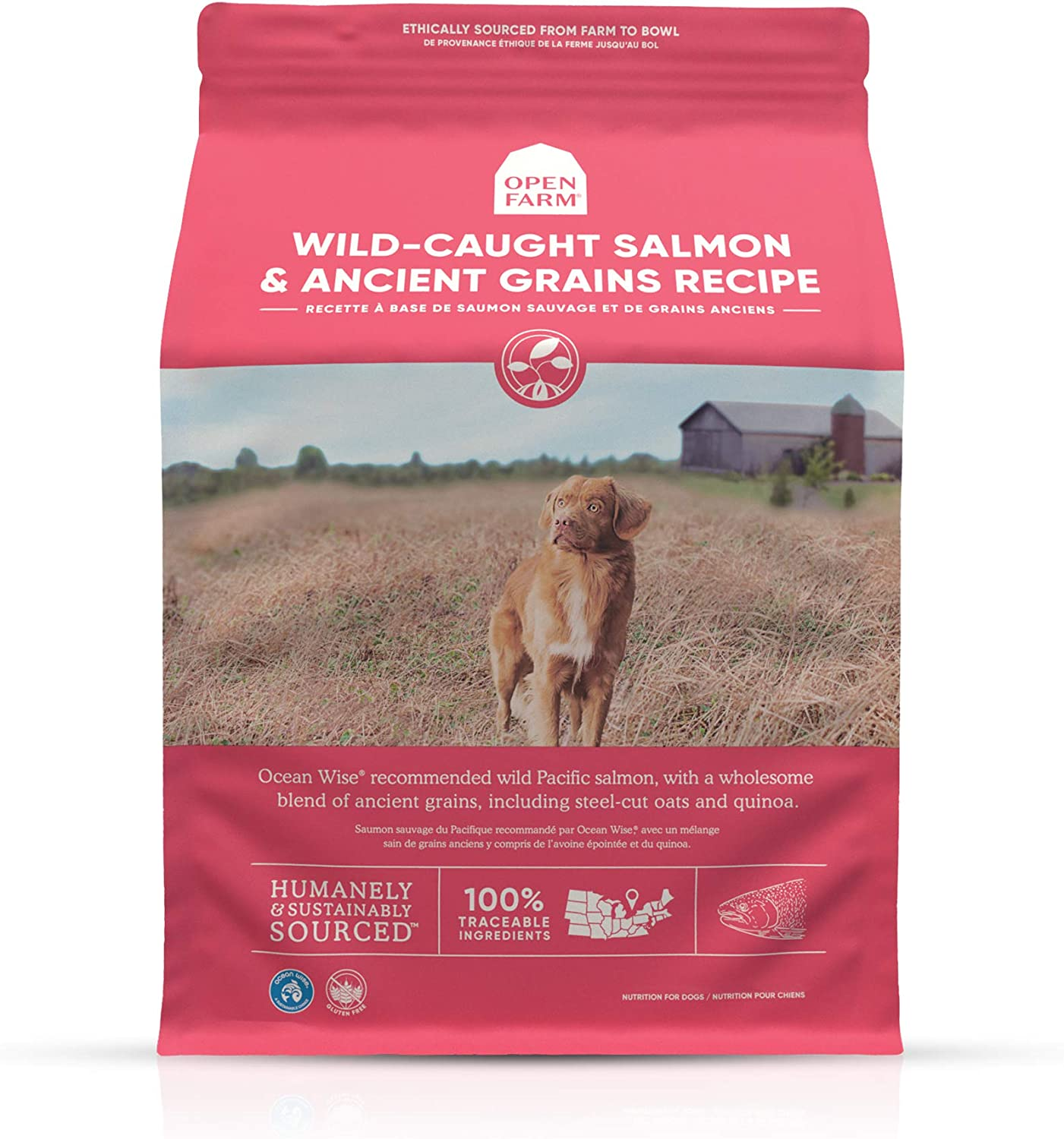 Open Farm Wild-Caught Salmon & Ancient Grains Dry Dog Food, Sustainably Fished Salmon Recipe with Wholesome Grains and No Artificial Flavors or Preservatives, 4 lbs