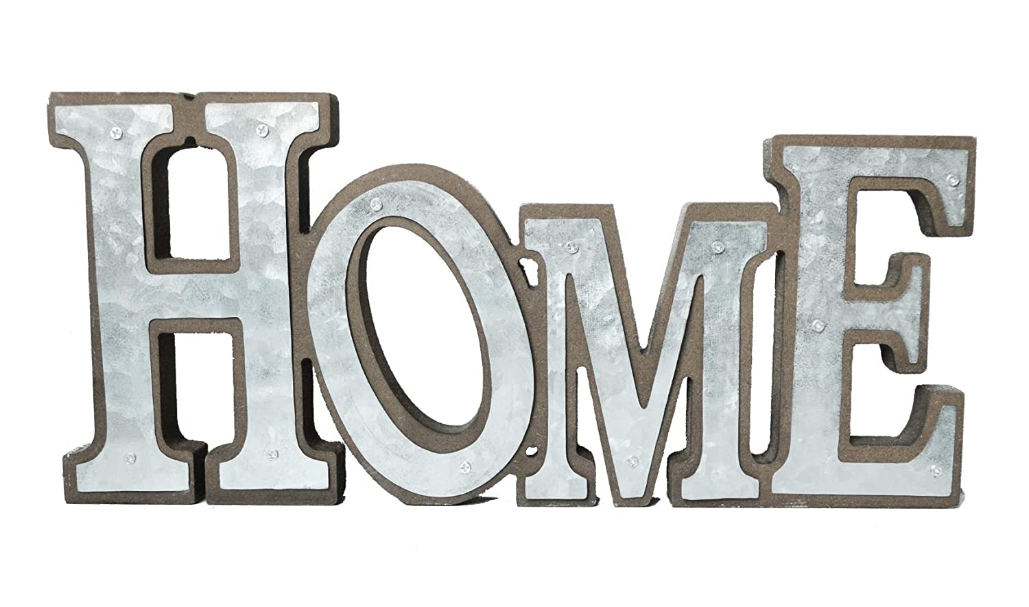 GIFTME 5 Galvanized Home Signs Standing Cutout Word Decorative Wooden Home Signs Decor