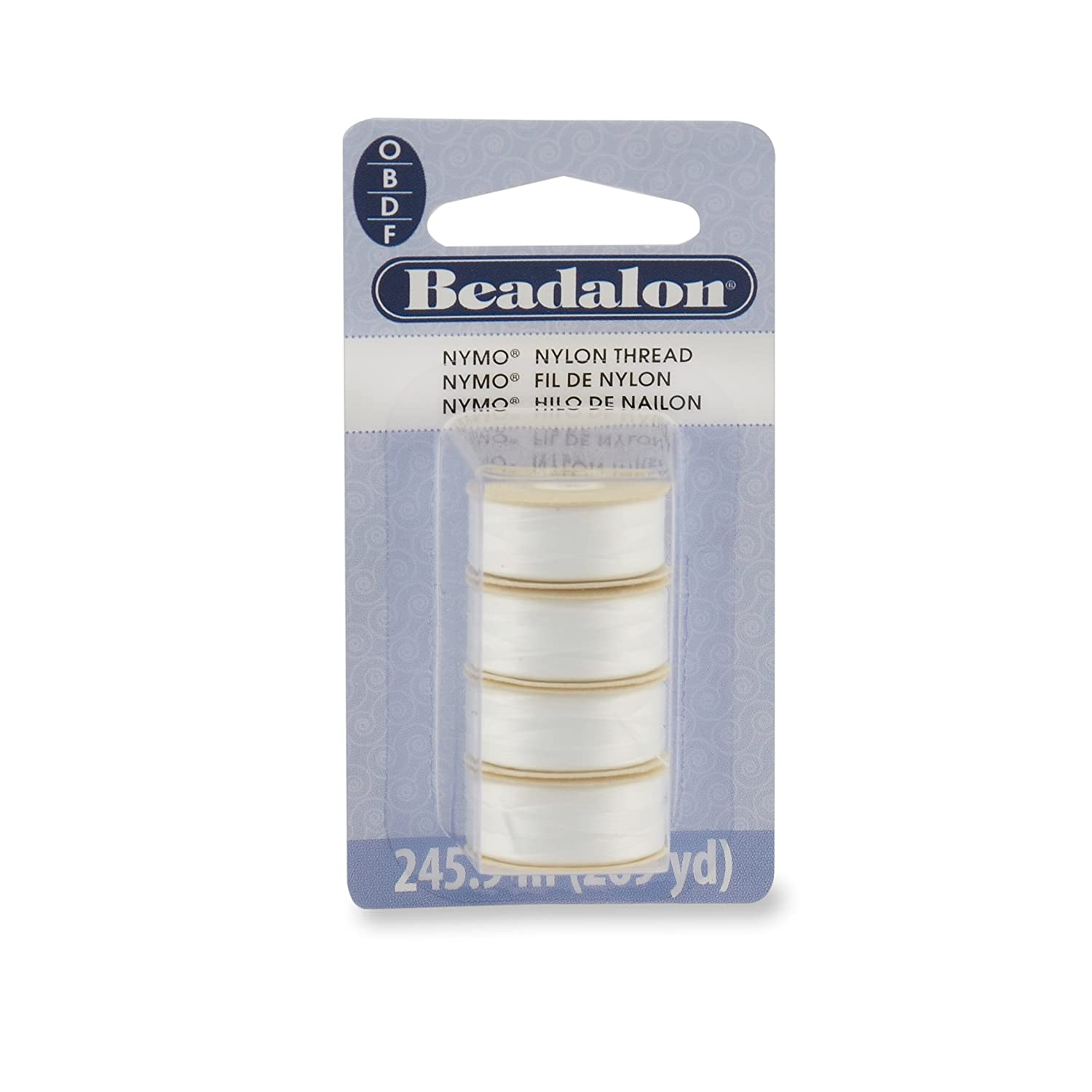 Nymo Thread, Sizes O,B,D,F All White Beadalon 124X-106