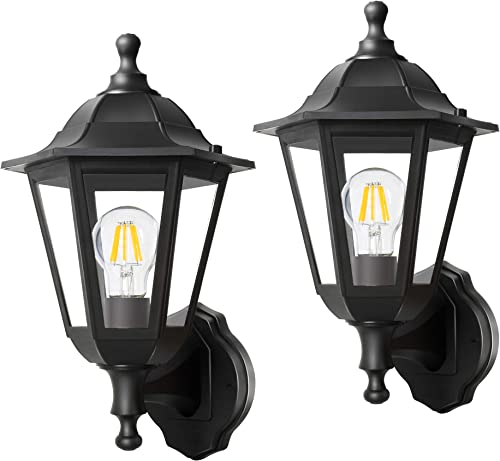 FUDESY 2-Pack Wall Lanterns Outdoor,8W Wired Electric LED Plastic Wall Lights Wall Mount,Waterproof Saving Energy Black Exterior Light Fixtures for Yard,Front Porch,Garage,Garden,FDS616B2