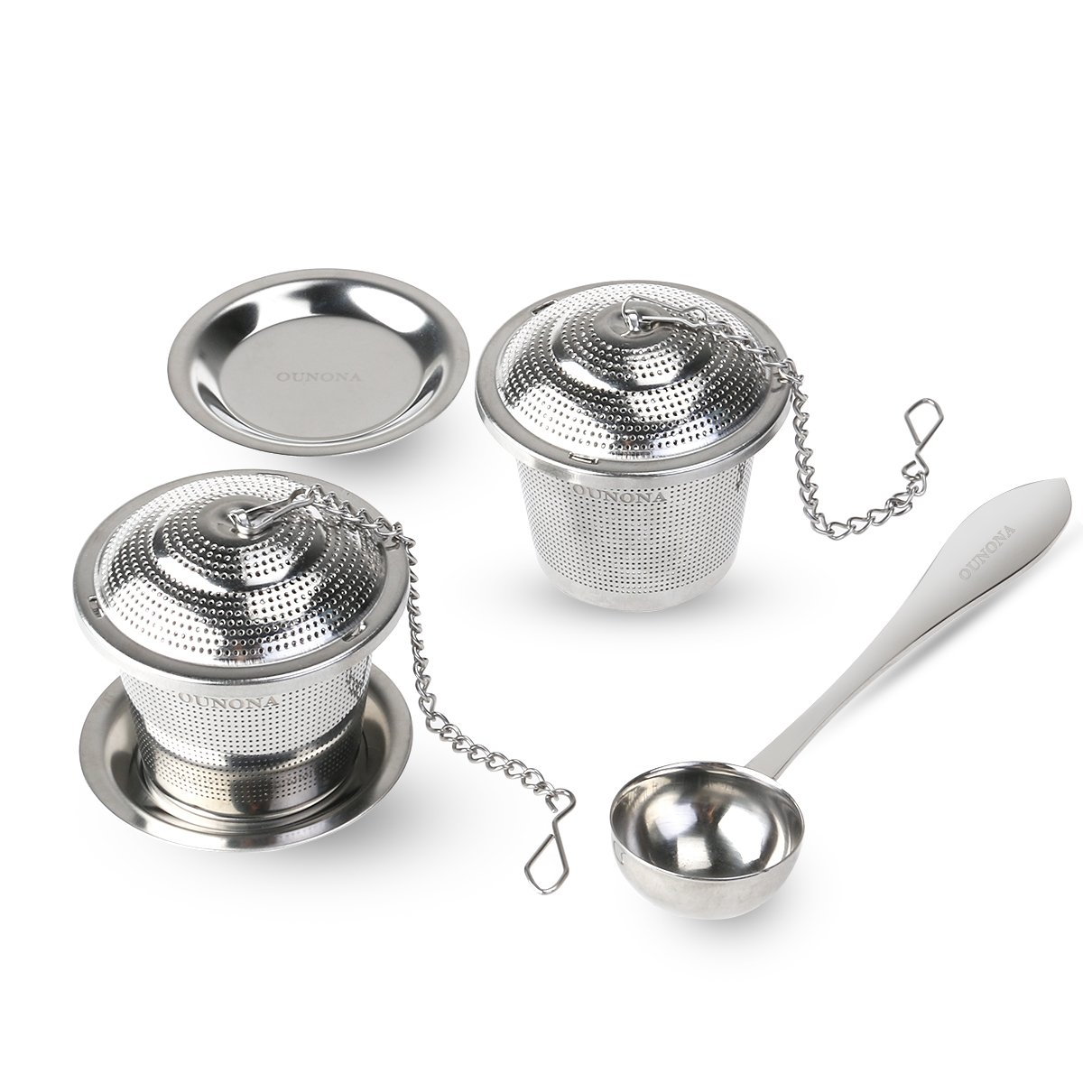 OUNONA 2pcs Tea Strainer Tea Infuser 304 Stainless Steel Tea Steeper with Tea Scoop and Drip Trays