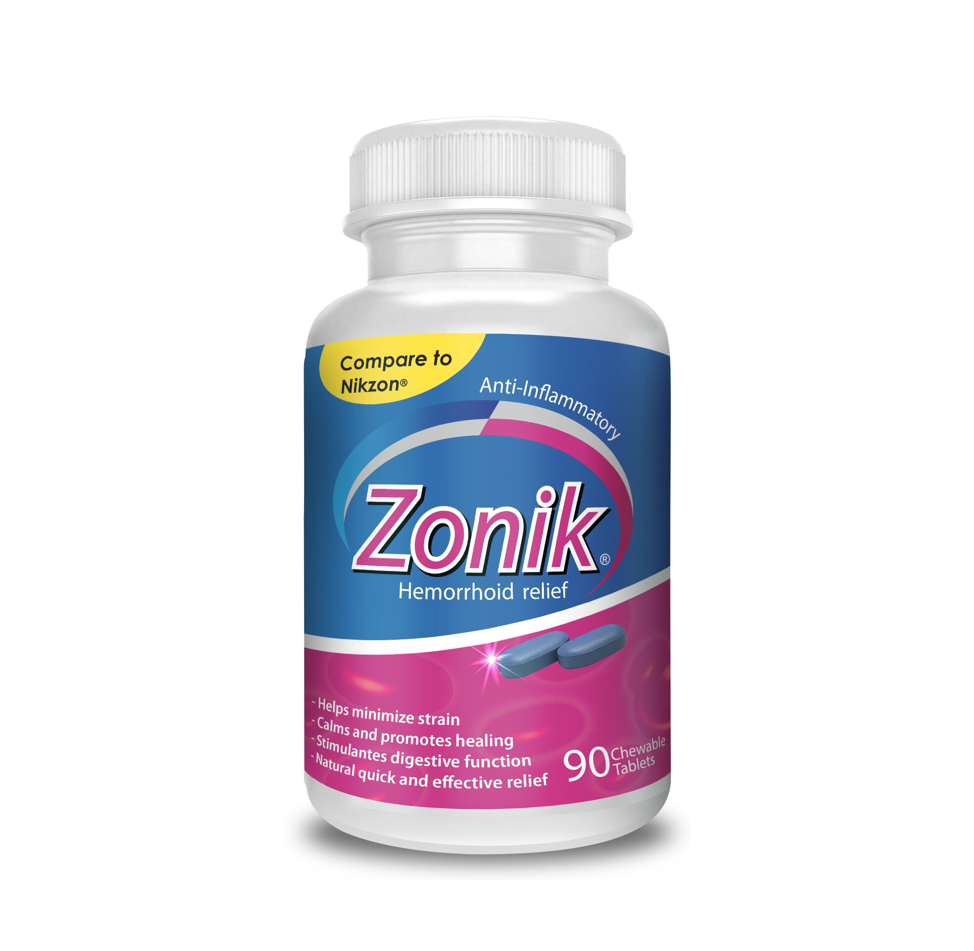 Zonik Hemorrhoid Relief - Compare to Nikzon chewable tablets