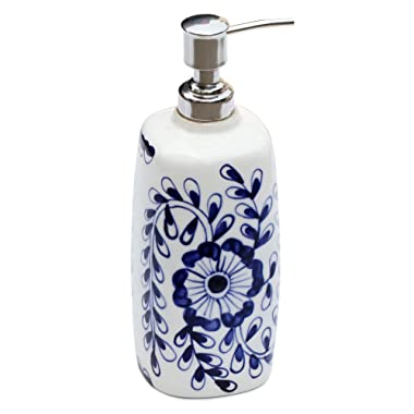 SouvNear Bathr Soap Blue and White Ceramic Liquid Lotion Dispenser Holder with Easy Aluminum Pump Hand Painted Floral Motifs for Kitchen Sink and Bathroom Accessories