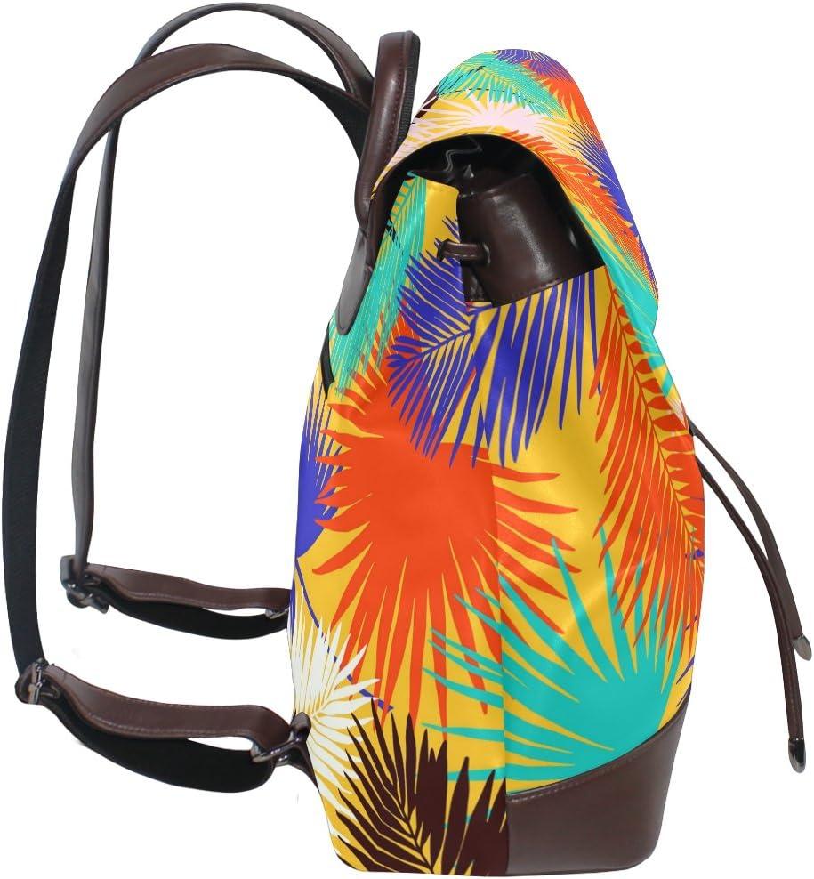 KUWT Colorful Palm Leaf PU Leather Backpack Photo Custom Shoulder Bag School College Book Bag Rucksack Casual Daypacks Diaper Bag for Women and Girl