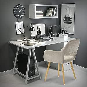 FurnitureR Juego de 2 sillas de Comedor con Brazos Sillas de cojín de Tela con Patas de Metal Resistentes para Comedor Beige