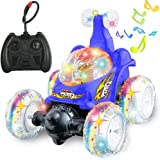 GBD RC Rolling Stunt Car Toy Remote Control Vehicle Truck Dump Invincible Tornado Twister 360 Degree Spinning and Flips with Led Light and Music for Kids Boys Girls Birthday Prime Gifts (Blue)