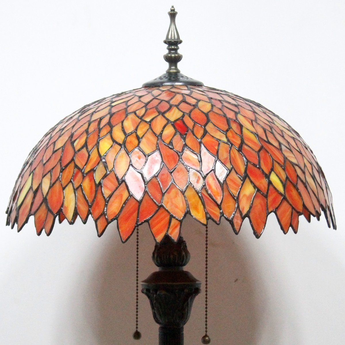 Red Wisteria Tiffany Style Floor Standing Lamp 64 Inch Tall Colorful Stained Glass Shade 2 Light Pull Chain