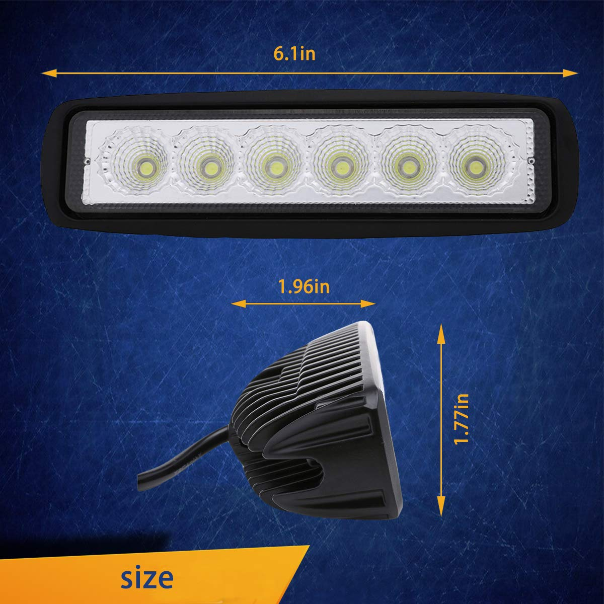 WGL LED Light Bar 2Pcs 18W Flood LED Work Light High Power Epistar LEDs Single Row Vehicle Off-Road Led Lights Driving Light Fog Light for Car Jeep SUV ATV 4WD