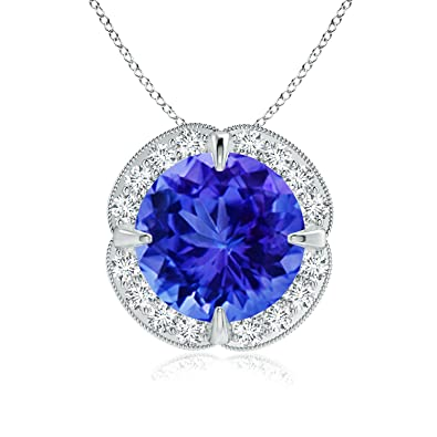Angara Claw-Set Tanzanite Clover Pendant with Diamond Halo pZivC