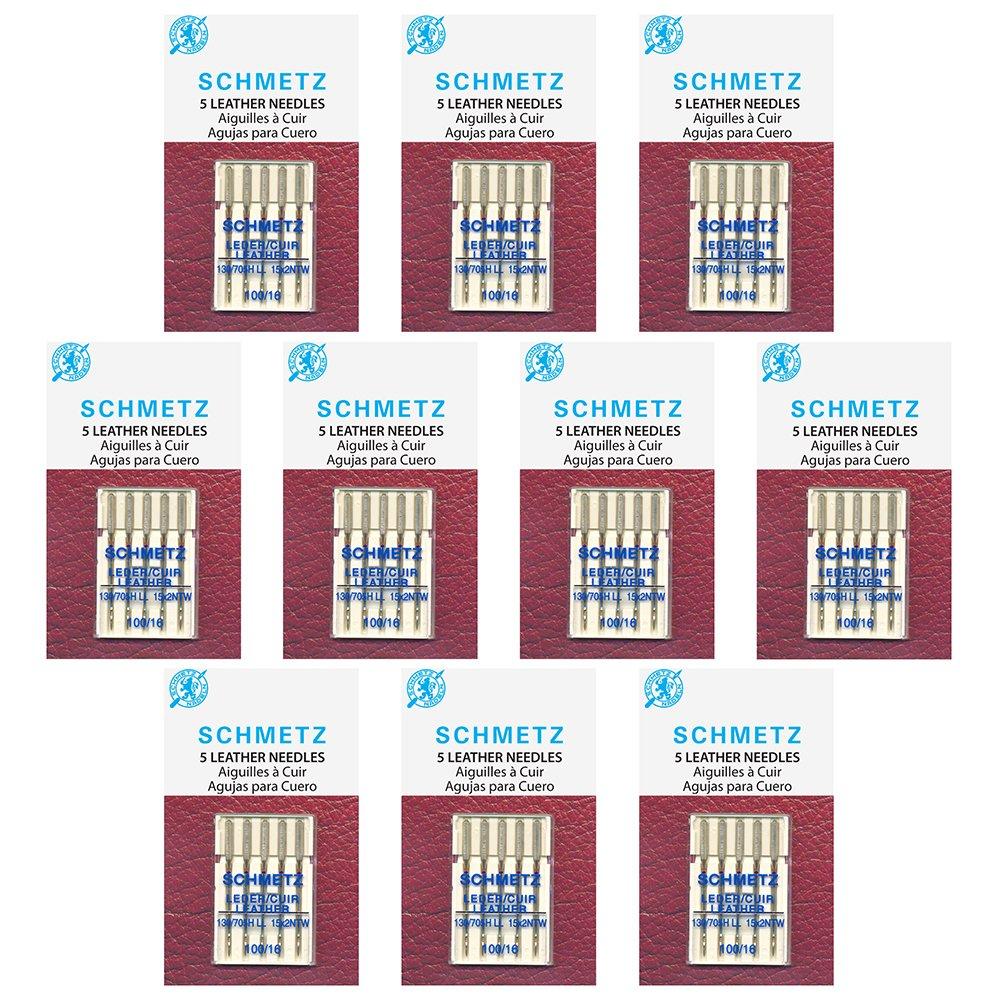 50 Schmetz Leather Sewing Machine Needles - size100/16 - Box of 10 cards by Schmetz