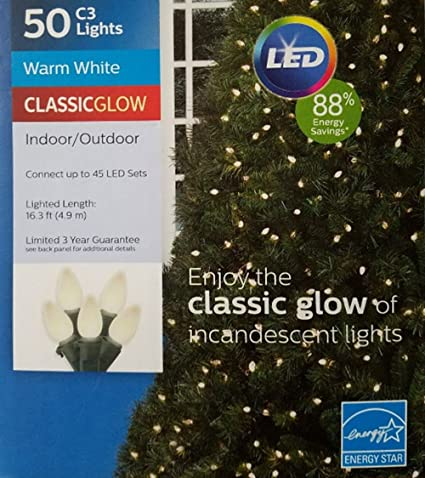 philips 50ct warm white led smooth c3 string lights green wire 163 lighted length