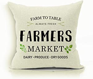 Farmhouse Pillow Covers with Farm to Table Always Fresh Farmers Market Dairy Produce Dry Goods Quotes 18 x 18 Inch Farmhouse Décor Housewarming Gifts for New Home