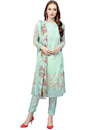 9f20731320 AKHILAM Women's Georgette Embroidered Unstitched Salwar Suits Dress  Material Set (Sea Green_Free Size): Amazon.in: Clothing & Accessories