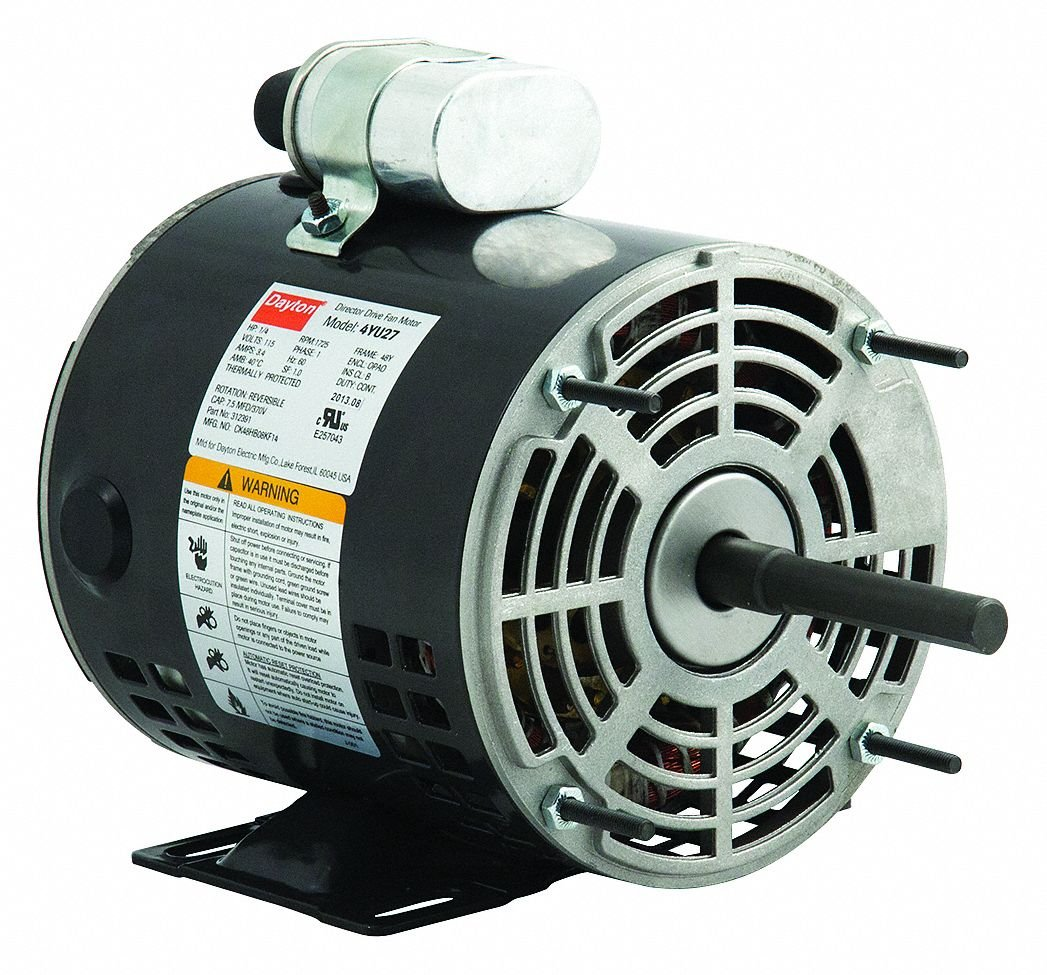 Dayton 4YU27 Motor, PSC, 1/4 hp, 1725 RPM, 115V, 48Z, OAO, Degrees_Fahrenheit, to Volts, Amps, (