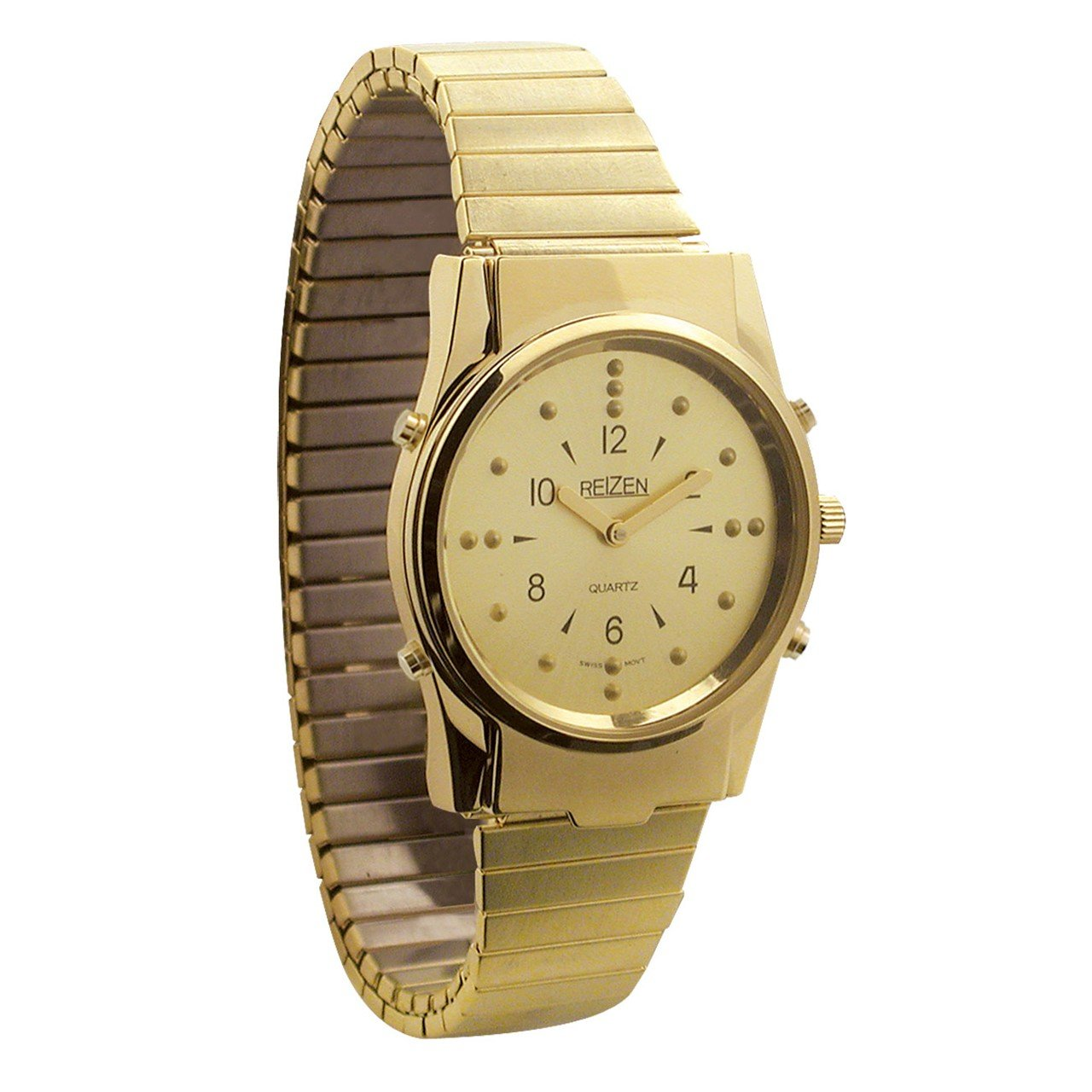 Mens Gold-Tone Braille and Talking Watch - Exp Band by Reizen