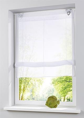 Amazon.de: MQIGO Raffrollo oesenrollo Weiss Transparent Vorhang mit ...
