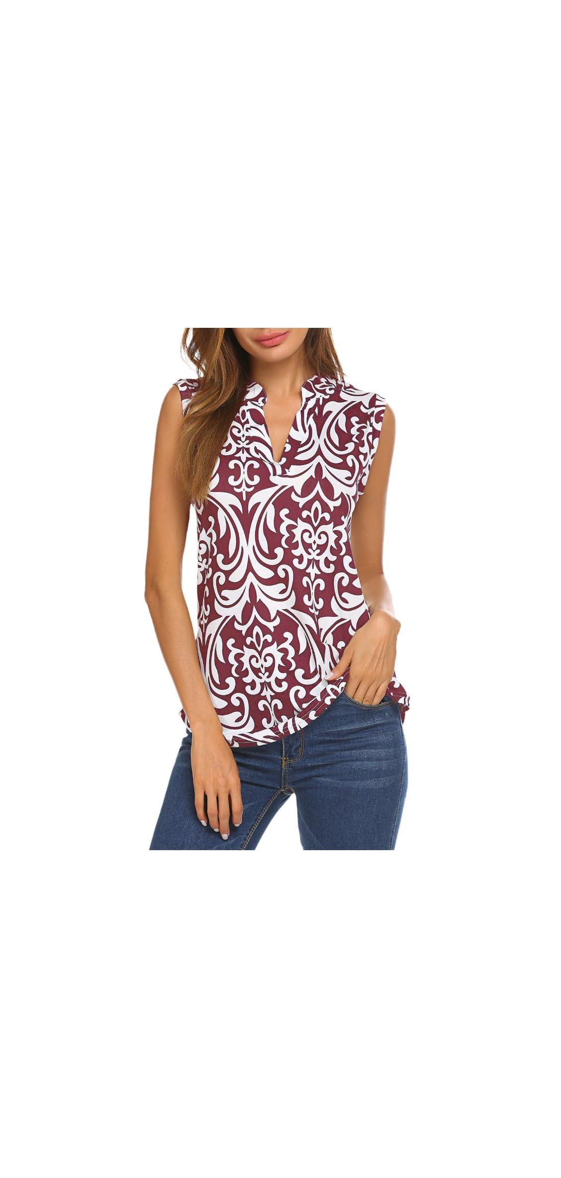 Women's Long Sleeve/sleeveless Floral Print V Neck Henley