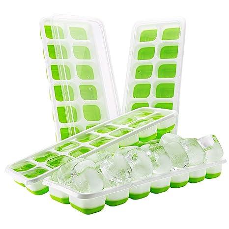 ?Upgrade Version?4 Stück Eiswürfelform, TOPELEK Silikon Eiswuerfel Form Eiswuerfelbehaelter Mit Deckel Ice Tray Ice Cube 14-F