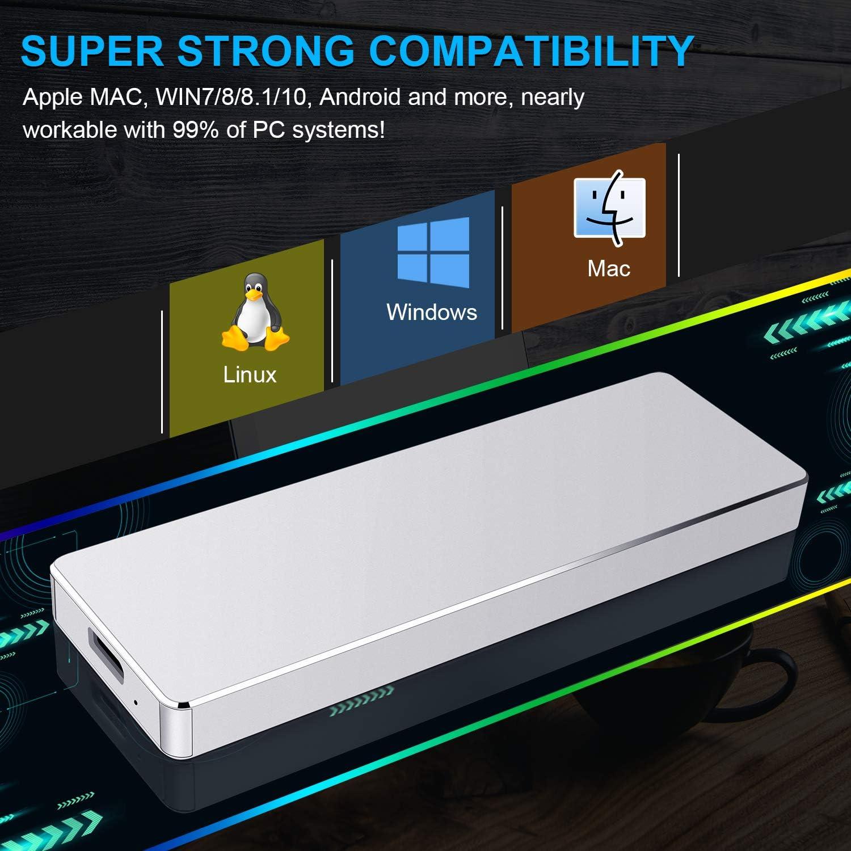 1To,Noir Desktop Disque Dur Externe USB3.1 Type-C Portable pour PC Mac Chromebook Laptop MacBook Xbox One Xbox 360 Disque Dur Externe 1to