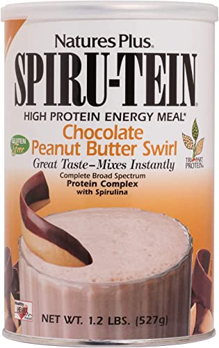 NaturesPlus SPIRU-TEIN Shake – Chocolate Peanut Butter – 1.2 lbs, Spirulina Protein Powder – Plant Based Meal Replacement, Vitamins Minerals for Energy – Vegetarian, Gluten-Free – 17 Servings