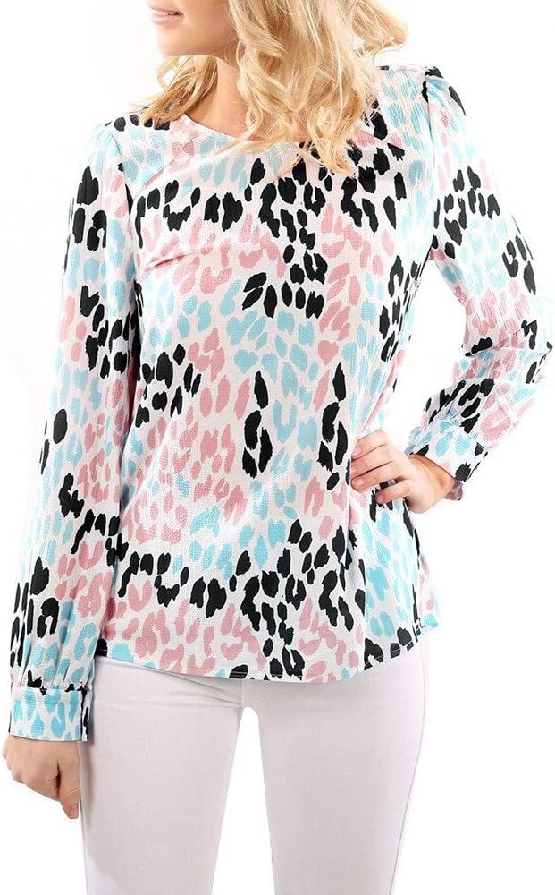 Blousa para Mujer Camisa de Manga Larga del Camisa de Otoño Invierno Sexy Blousa Color Leopardo Impresiones con Cuello en O De Casual Tops Camiseta Pulóver Sudadera: Amazon.es: Ropa y accesorios