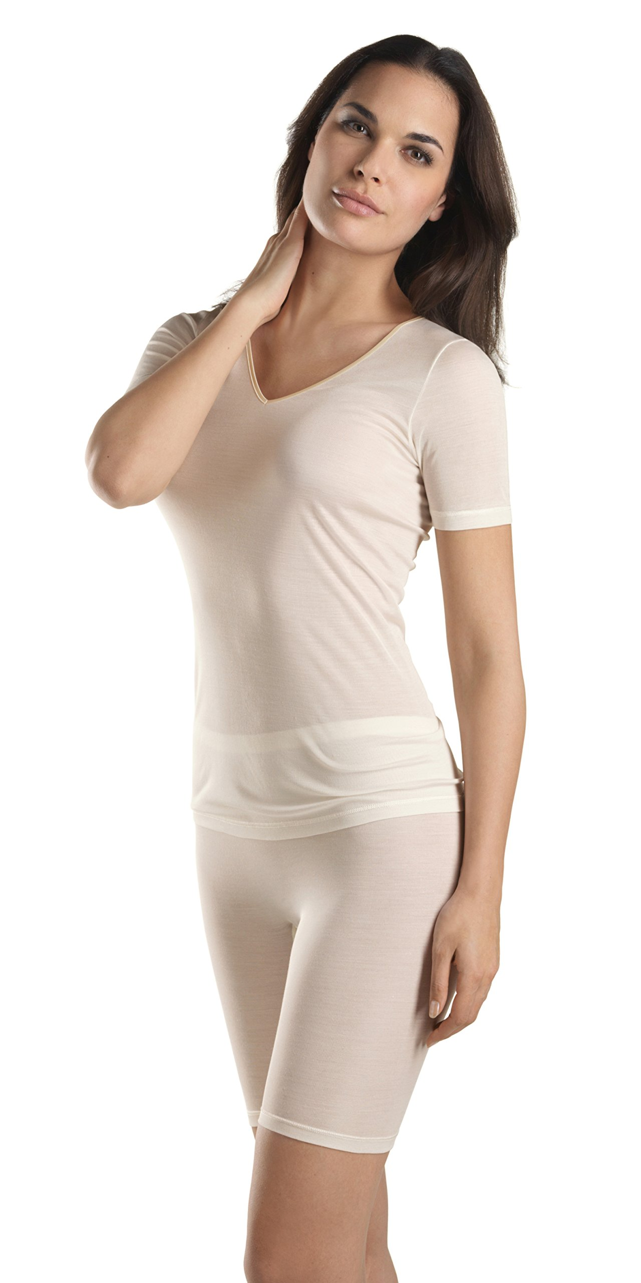 HANRO Women's Pure Silk Short Sleeve Shirt 71718, Pale Cream, Large