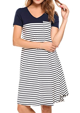 97e2460ce3e9 Image Unavailable. Image not available for. Color: Zeagoo Women's Casual T-Shirt  Loose Black and White Striped Dress, Navy Bluenavy Blue