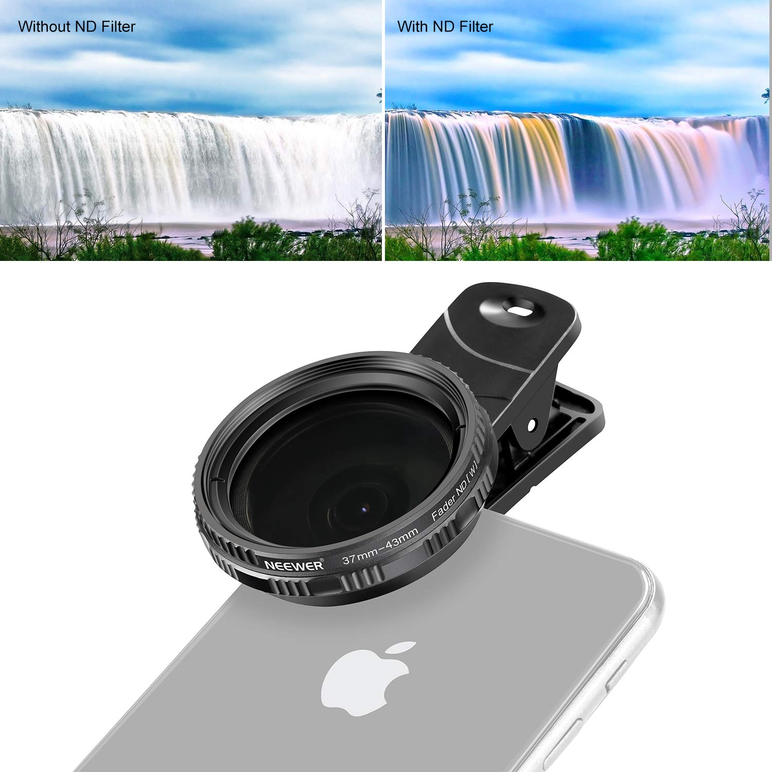 Neewer 37mm Clip-on ND 2-400 Cellphone Camera Lens Filter Kit: Adjustable Neutral Density Filter with Phone Clip for iPhone X 8 plus 7 Plus 7 6 6S Plus Samsung HTC Motorola iPad and Other Smartphones by Neewer