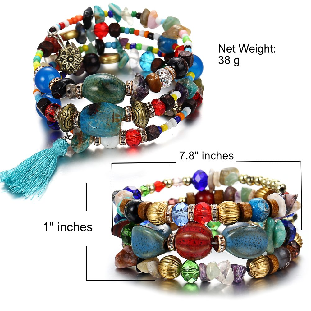 ISAACSONG.DESIGN Bohemian Multilayer Healing Stone Crystal Beads Charm Tribal Wrap Bangle Bracelet for Women (2 Pcs Colorful Beaded) by ISAACSONG.DESIGN (Image #2)