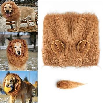 Eloka Lion Mane para Gog, Mascota Perro Disfraz León Mane Peluca Fancy Lion Pelo para