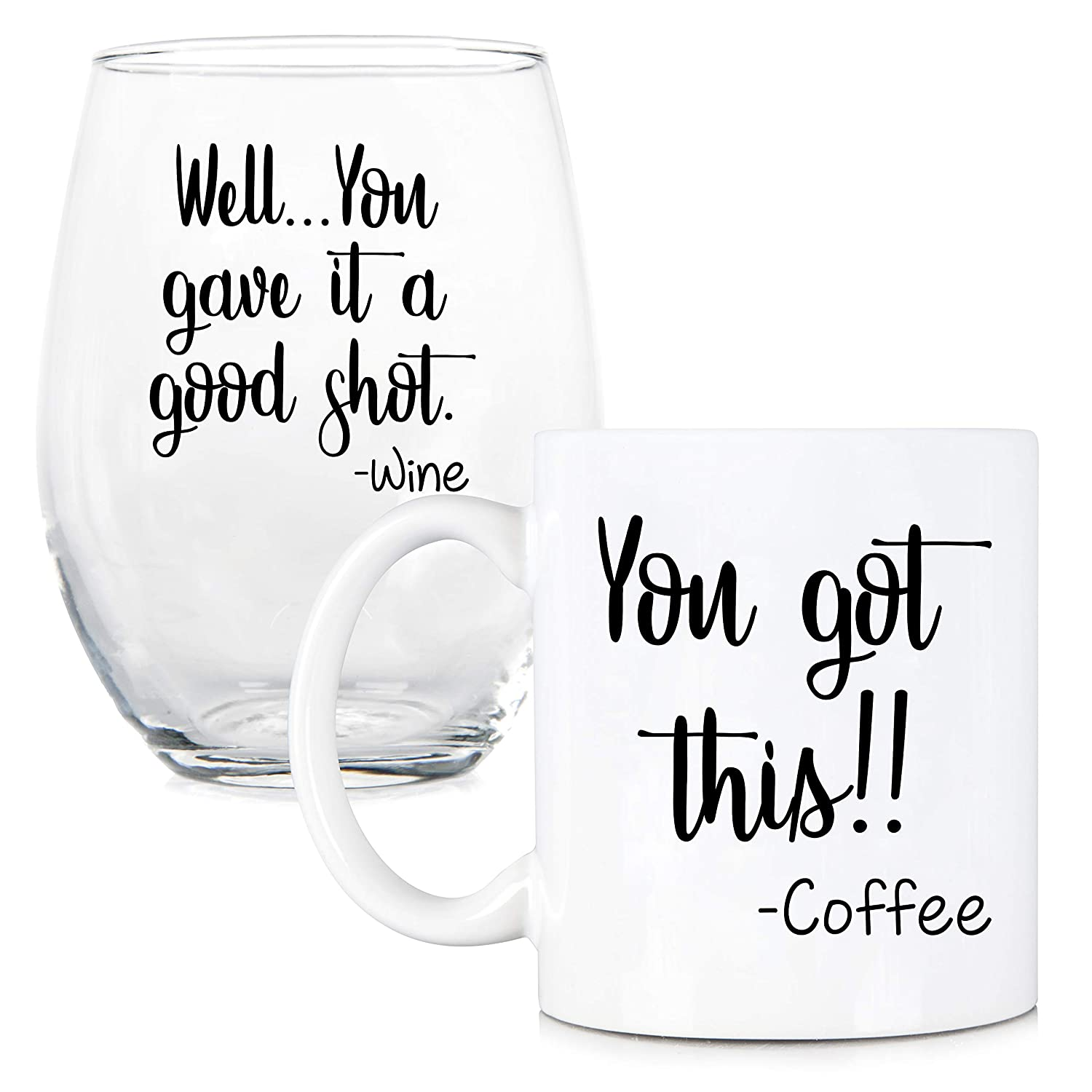 coffee mug and stemless wine glass set