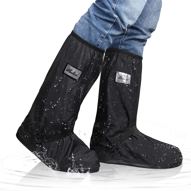 Rain Shoe Boots Covers for Women Men,Reusable Foldable Waterproof Overshoes for Rain Snow,Outdoor Sports Rain Shoe Protectors,Black,5 Sizes Choice